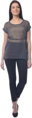 Chloe Casual Short Sleeve Geometric Print Women,s Black, White Top
