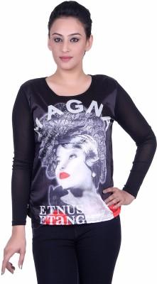 Sellsy Casual Full Sleeve Graphic Print Women's Black Top