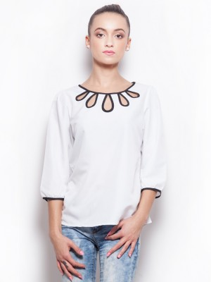 Popnetic Casual 3/4 Sleeve Solid Women's White Top