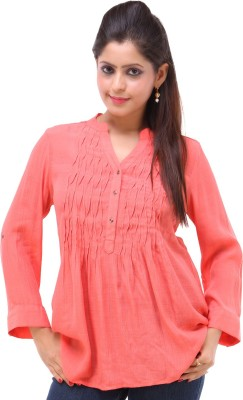 Kashana Fashions Casual 3/4 Sleeve Solid Women's Orange Top