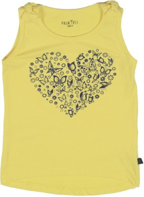 Palm Tree Casual Sleeveless Solid Girl's Yellow Top