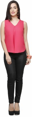V&M Casual Sleeveless Solid Women's Pink Top