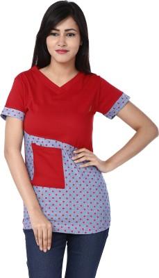 Adhaans Casual Short Sleeve Printed Women's Red, Grey Top