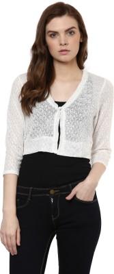 Avirate Casual Full Sleeve Self Design Women's White Top