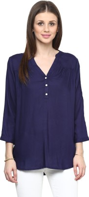 Shakumbhari Casual 3/4 Sleeve Solid Women's Blue Top
