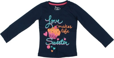 Parv Collections Casual Full Sleeve Printed Girl's Blue Top
