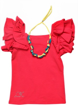 Little Kangaroo Casual Petal sleeve Solid Girl's Red Top