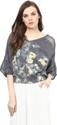 Rose Vanessa Casual Full Sleeve Printed Women's Grey Top