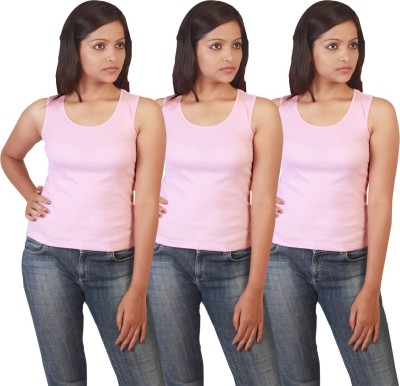 Twin Birds Casual Sleeveless Solid Women's Pink Top