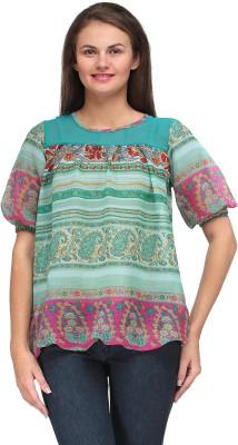 Motif Casual Short Sleeve Printed Women's Multicolor Top