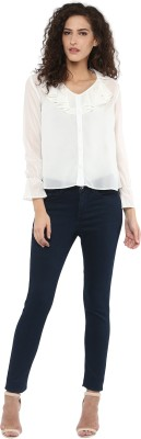 C2 Casual Full Sleeve Solid Women's White Top