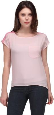 Motif Casual Short Sleeve Solid Women's Pink Top
