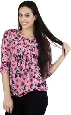 GUDS Casual 3/4 Sleeve Floral Print Women's Pink Top