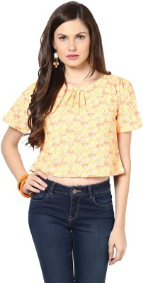 Glam & Luxe Casual Short Sleeve Printed Women's Yellow Top