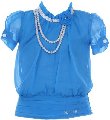 LEI CHIE Casual Short Sleeve Self Design Girl's Blue Top