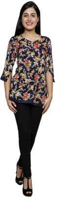 Sea Lion Casual 3/4 Sleeve Floral Print Women's Blue Top