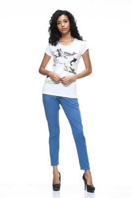 HANGNHOLD Casual Short Sleeve Printed Women's White Top