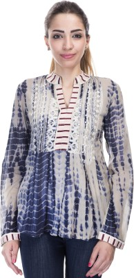 Falak Casual Full Sleeve Embroidered Women's Blue Top
