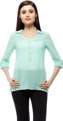Stylestone Casual, Formal, Lounge Wear, Beach Wear, Party Roll-up Sleeve Solid Women's Green Top