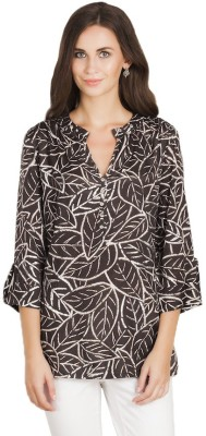 Vivante by VSA Casual Full Sleeve Printed Women's Black Top