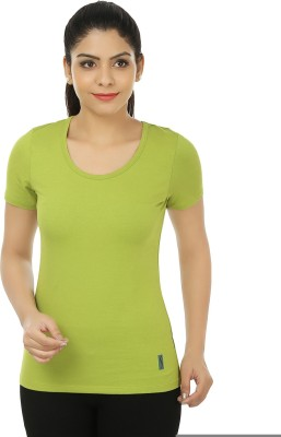 Stretchery Sports Short Sleeve Solid Women's Green Top
