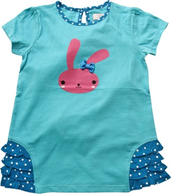Jus Cubs Casual Short Sleeve Printed Baby Girl's Blue Top
