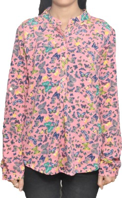 Lazy Dog Casual Full Sleeve Printed Women's Pink Top
