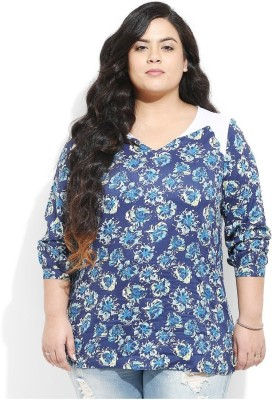 Amydus Casual Full Sleeve Floral Print Women's Blue Top