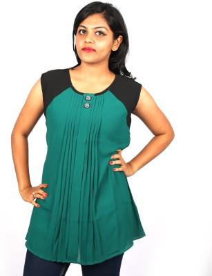 Pragati Fashions Casual Sleeveless Solid Women's Green Top