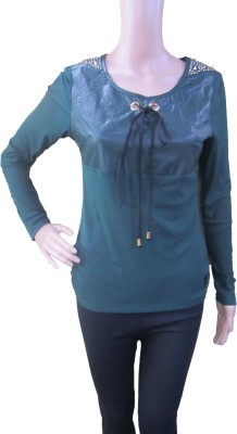 Aaradhya Boutique Party Full Sleeve Solid Women,s Dark Green Top