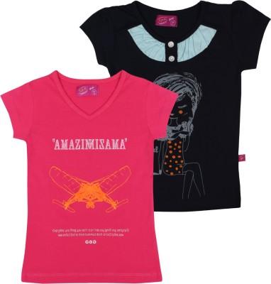 Spn Garments Casual Short Sleeve Printed Girl,s Pink, Dark Blue Top