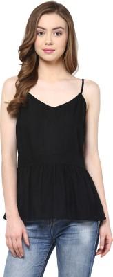 Hapuka Casual Sleeveless Solid Women's Black Top