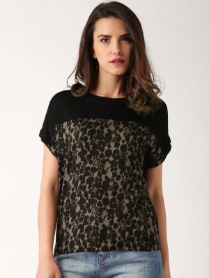 Dressberry Casual Short Sleeve Printed Women's Black Top