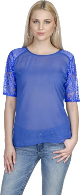 Aussehen Casual 3/4 Sleeve Solid Women's Blue Top