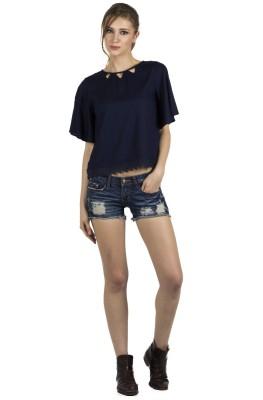 109F Casual Short Sleeve Solid Women's Dark Blue Top