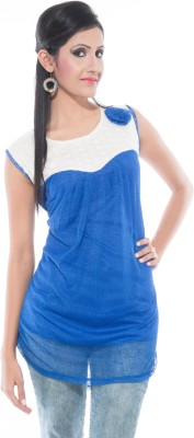 Simran Creation Casual Sleeveless Solid Women's Blue Top