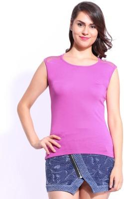 Dressberry Casual Short Sleeve Solid Women's Purple Top