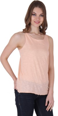 Rrajsee Casual Sleeveless Solid Women's Pink Top