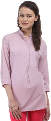 East West Casual 3/4 Sleeve Solid Women's Pink Top