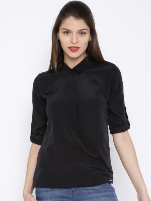 Harvard Casual Roll-up Sleeve Solid Women's Black Top