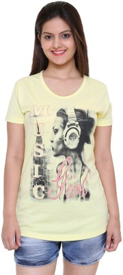 IN Love Formal, Casual, Party Short Sleeve Printed Women's Yellow Top