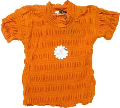 Mankoose Casual Short Sleeve Self Design Baby Girl's Orange Top