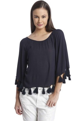 Only Casual 3/4 Sleeve Solid Women's Blue Top