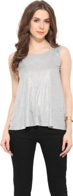 Leo Sansini Casual Sleeveless Solid Women's Grey Top