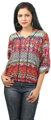 Bizzare Couture Casual 3/4 Sleeve Printed Women's Multicolor Top