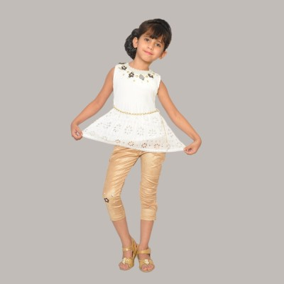 SD Party Sleeveless Self Design Girl's Beige Top