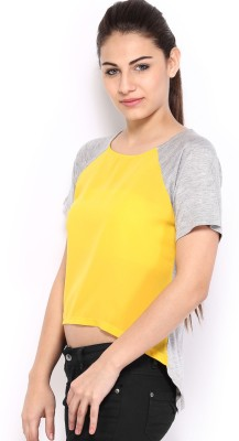 HRX by Hrithik Roshan Casual Short Sleeve Solid Women's Yellow, Grey Top