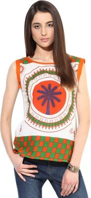 JaipurKurti Casual Sleeveless Printed Women's Orange Top