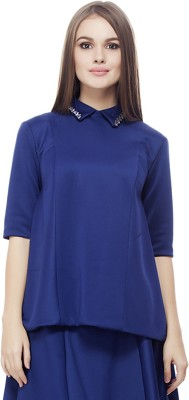 Elegn Casual, Party Short Sleeve Solid, Embellished Women's Blue Top