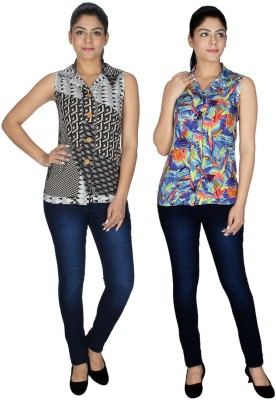 Yogalz Casual Sleeveless Printed Women's Multicolor Top